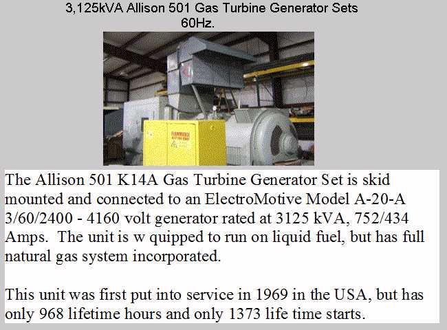 Gas Turbine Generator Sets - Frame 5 Frame 6 Frame 7 Frame 9