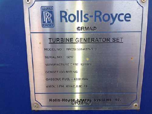 4mw Rolls Royce Allison 501 Kb5 Turbine Generator Sets For